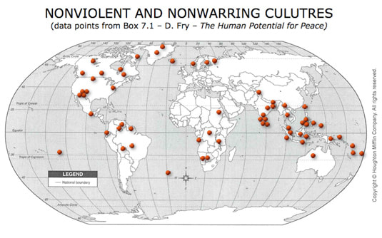 Map of Non-warring cultures